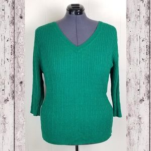 Lane Bryant Green V-neck Cable Knit Sweater